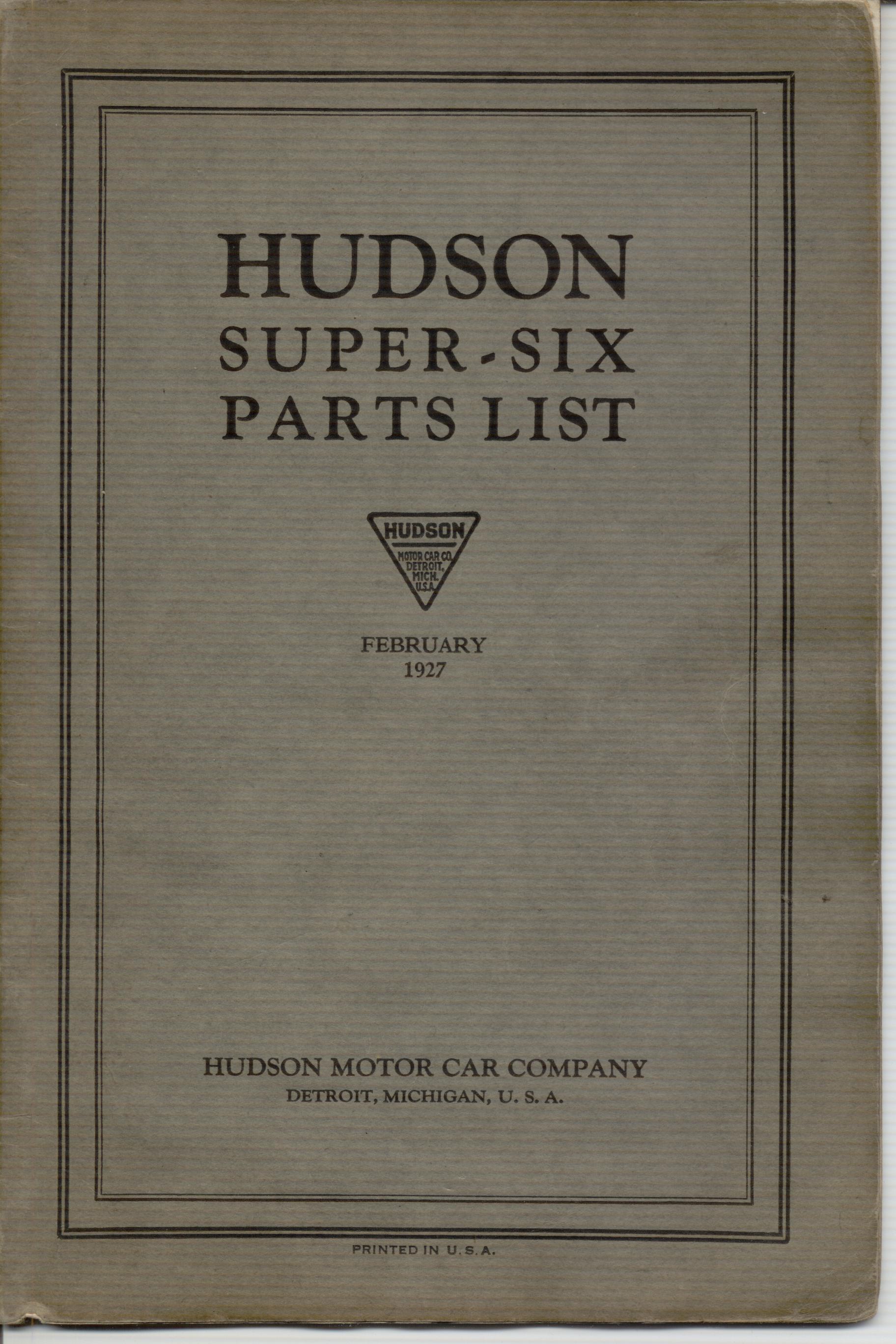 Hudson Manuals Tech Index Charging Circuit Diagram For The 1953 Oldsmobile All Models Super Six Parts List Feb 1927